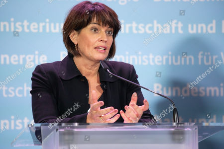 Swiss Federal Councilor Doris Leuthard speaks during a press conference with Federal Minister for Economic Affairs and Energy Peter Altmaier (not pictured) at the German Ministry of Economic Affairs in Berlin, Germany, 17 September 2018.