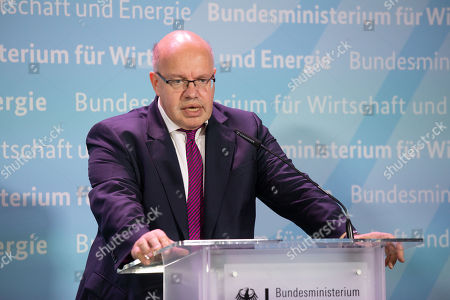 German Federal Minister for Economic Affairs and Energy Peter Altmaier speaks duiring a press conference with Swiss Federal Councilor Doris Leuthard (unseen) at the German Ministry of Economic Affairs in Berlin, Germany, 17 September 2018.