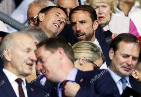 England Manager Gareth Southgate is seen in the stands with Matt Le Tissier.
