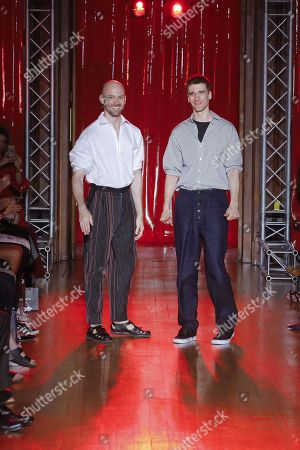 Levi Palmer and Matthew Harding on the catwalk