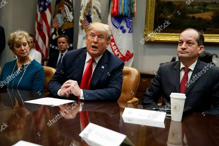 Donald Trump, Alex Acosta, Linda McMahon. Small Business Administration administrator Linda McMahon, left, and Labor Secretary Alex Acosta, right, listen as President Donald Trump speaks during a meeting of the President's National Council of the American Worker in the Roosevelt Room of the White House, in Washington