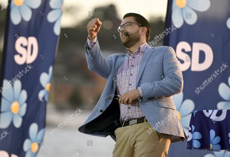 Sweden Democrats party leader Jimmie Akesson during the campaign rally in Stockholm, Sweden, on September 8, 2018. Sweden's general election take place on September 9, 2018.