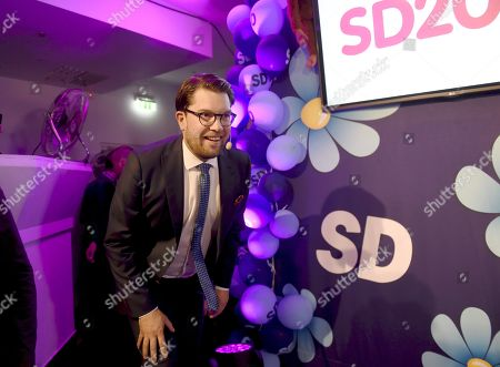 Sweden Democrats party leader Jimmie Akesson arrives to the election night rally of Sweden Democrats in Stockholm, Sweden, on 9th Sept. 2018. Sweden's general election take place on September 9, 2018