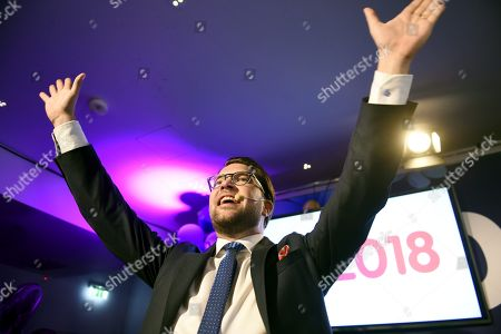 Sweden Democrats party leader Jimmie Akesson celebrates during the election night rally of Sweden Democrats in Stockholm, Sweden, on 9th Sept. 2018. Sweden's general election take place on September 9, 2018
