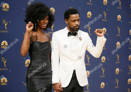 Lakeith Stanfield, Xosha Roquemore. Xosha Roquemore, left, and Lakeith Stanfield arrive at the 70th Primetime Emmy Awards, at the Microsoft Theater in Los Angeles