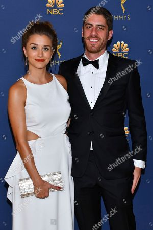 Taylor Misiak and Tony Yacenda arrive at the 70th Primetime Emmy Awards, at the Microsoft Theater in Los Angeles