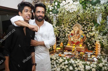 Bollywood actor Sonu Sood celebrates Ganesha Chaturthi festival at his residence