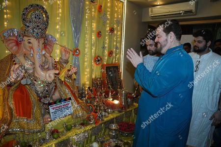 Bollywood actor Neil Nitin Mukesh with his father Nitin Mukesh celebrate Ganesha Chaturthi festival at his residence