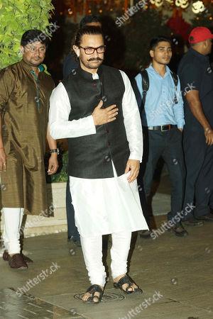 Bollywood actor Aamir Khan attends the Ganesha Chaturthi festival celebrations At Antilia, Mukesh Ambani?s residence, Nepenan Sea road