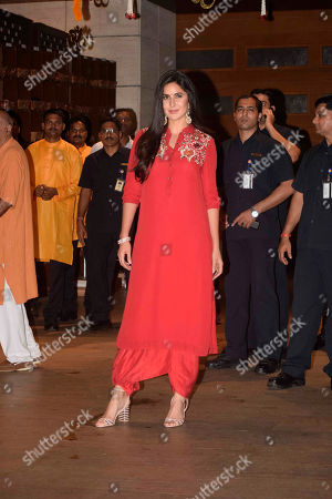 Bollywood actor Katrina Kaif attends the Ganesha Chaturthi festival celebrations At Antilia, Mukesh Ambani?s residence, Nepenan Sea road