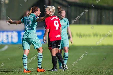 Jessica Samuelsson (Arsenal) & Rebecca Carter (Lewes) during the FA WSL 2 match between Lewes FC Women vs Arsenal Women FC at the Dripping Pan, Lewes. Picture by Jane Stokes