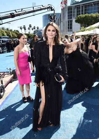 Keri Russell, Sarah Silverman. Keri Russell, front, and Sarah Silverman arrive at the 70th Primetime Emmy Awards, at the Microsoft Theater in Los Angeles