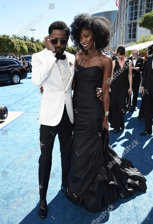 Lakeith Stanfield, Xosha Roquemore. Lakeith Stanfield, left and Xosha Roquemore arrive at the 70th Primetime Emmy Awards, at the Microsoft Theater in Los Angeles