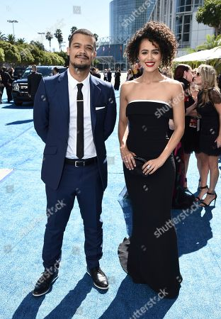 Jacob Anderson, Nathalie Emmanuel. Jacob Anderson, left, and Nathalie Emmanuel arrive at the 70th Primetime Emmy Awards, at the Microsoft Theater in Los Angeles
