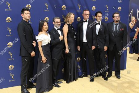 (L-R) Jakob Verbruggen, Rosalie Swedlin, Chris Symes, Marshall Persinger, Jamie Payne, Seth Fisher, and Ben Rosenblatt  arrives for the 70th annual Primetime Emmy Awards ceremony held at the Microsoft Theater in Los Angeles, California, USA, 17 September 2018. The Primetime Emmys celebrate excellence in national prime-time television programming.