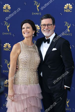 Evelyn McGee-Colbert (L) and Stephen Colbert arrive for the 70th annual Primetime Emmy Awards ceremony held at the Microsoft Theater in Los Angeles, California, USA, 17 September 2018. The Primetime Emmys celebrate excellence in national prime-time television programming.