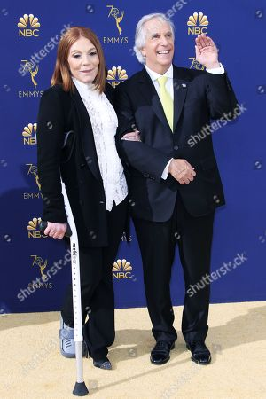 Stacey Weitzman (L) and Henry Winkler arrive for the 70th annual Primetime Emmy Awards ceremony held at the Microsoft Theater in Los Angeles, California, USA, 17 September 2018. The Primetime Emmys celebrate excellence in national prime-time television programming.