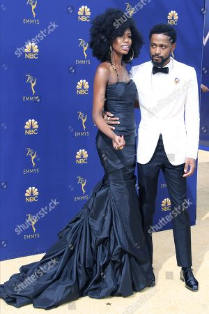 Xosha Roquemore and Lakeith Stanfield arrive for the 70th annual Primetime Emmy Awards ceremony held at the Microsoft Theater in Los Angeles, California, USA, 17 September 2018. The Primetime Emmys celebrate excellence in national prime-time television programming.