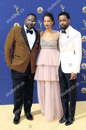 (L-R) Brian Tyree Henry, Stefani Robinson, and Lakeith Stanfield arrive for the 70th annual Primetime Emmy Awards ceremony held at the Microsoft Theater in Los Angeles, California, USA, 17 September 2018. The Primetime Emmys celebrate excellence in national prime-time television programming.