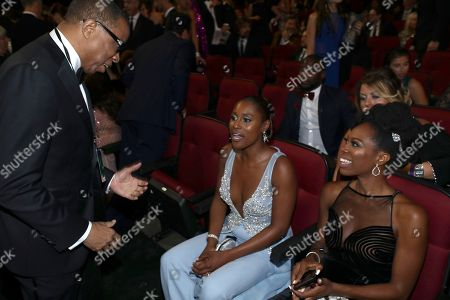 Hayma Washington, Issa Rae, Yvonne Orji. From left, Hayma Washington, Chairman and CEO of the Television Academy, Issa Rae and Yvonne Orji attend the 70th Primetime Emmy Awards, at the Microsoft Theater in Los Angeles