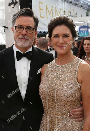 Evelyn McGee-Colbert, Stephen Colbert. Stephen Colbert, left, and Evelyn McGee-Colbert arrive at the 70th Primetime Emmy Awards, at the Microsoft Theater in Los Angeles