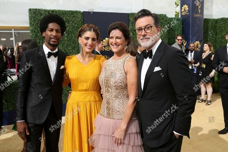 Jon Batiste, Suleika Jaouad, Evelyn McGee-Colbert, Stephen Colbert. Jon Batiste, from left, Suleika Jaouad, Evelyn McGee-Colbert and Stephen Colbert arrive at the 70th Primetime Emmy Awards, at the Microsoft Theater in Los Angeles