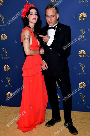 Sarah Sophie Flicker, Jesse Peretz. Sarah Sophie Flicker, left, and Jesse Peretz arrive at the 70th Primetime Emmy Awards, at the Microsoft Theater in Los Angeles