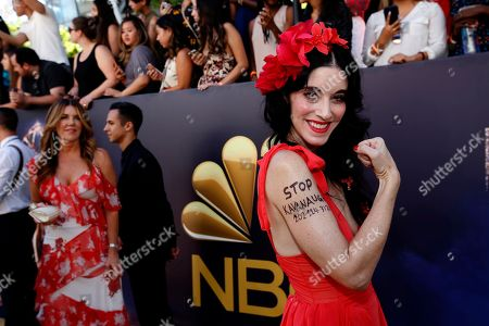 Sarah Sophie Flicker arrives at the 70th Primetime Emmy Awards, at the Microsoft Theater in Los Angeles