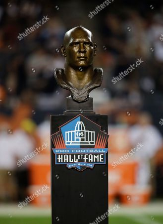 Pro Football Hall of Fame statue of Brian Urlacher during the halftime of an NFL football game between the Chicago Bears and the Seattle Seahawks, in Chicago