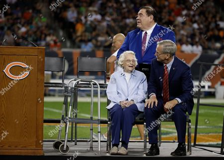 Chicago Bears owner Virginia Halas McCaskey during the halftime ceremony to honor the induction of Brian Urlacher into the Pro Football Hall of Fame during an NFL football game between Seattle Seahawks and Chicago Bears, in Chicago