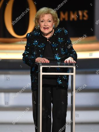 Betty White speaks on stage at the 70th Primetime Emmy Awards, at the Microsoft Theater in Los Angeles