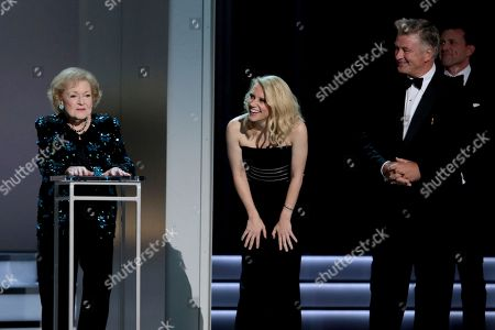 Betty White, Kate McKinnon and Alec Baldwin at the 70th Primetime Emmy Awards, at the Microsoft Theater in Los Angeles