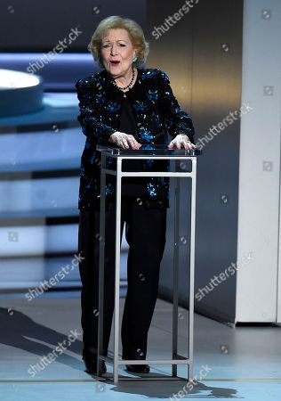 Stock Photo of Betty White speaks on stage at the 70th Primetime Emmy Awards, at the Microsoft Theater in Los Angeles