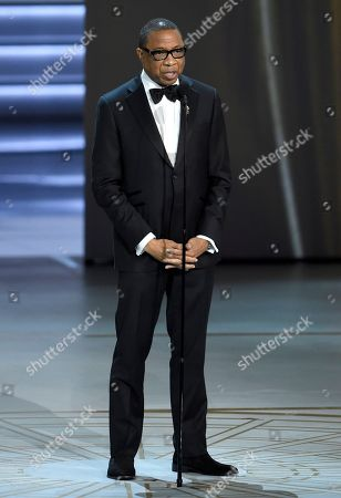 Hayma Washington, chairman and CEO of the Television Academy, speaks at the 70th Primetime Emmy Awards, at the Microsoft Theater in Los Angeles