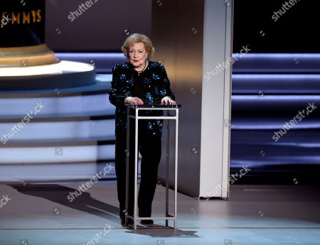Stock Picture of Betty White speaks on stage at the 70th Primetime Emmy Awards, at the Microsoft Theater in Los Angeles