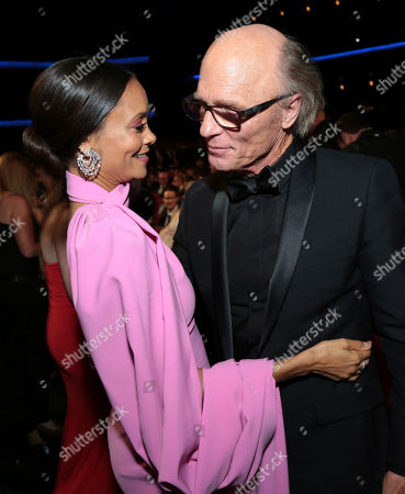 Ed Harris, Thandiwe Newton. Ed Harris and Thandiwe Newton at the 70th Primetime Emmy Awards, at the Microsoft Theater in Los Angeles