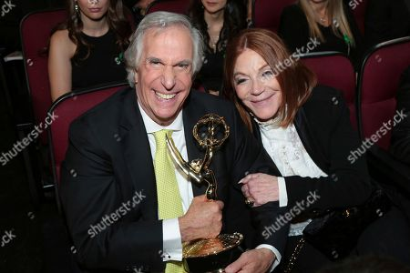 """Henry Winkler, Stacey Weitzman. Henry Winkler, winner of the award for outstanding supporting actor in a comedy series for """"Barry"""", left, and Stacey Weitzman at the 70th Primetime Emmy Awards, at the Microsoft Theater in Los Angeles"""