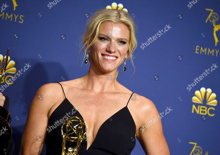 "Lindsay Shookus poses in the press room with the award for outstanding variety sketch series for ""Saturday Night Live"" at the 70th Primetime Emmy Awards, at the Microsoft Theater in Los Angeles"