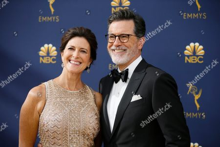 Evelyn McGee-Colbert, Stephen Colbert. Evelyn McGee-Colbert, left, and Stephen Colbert arrive at the 70th Primetime Emmy Awards, at the Microsoft Theater in Los Angeles