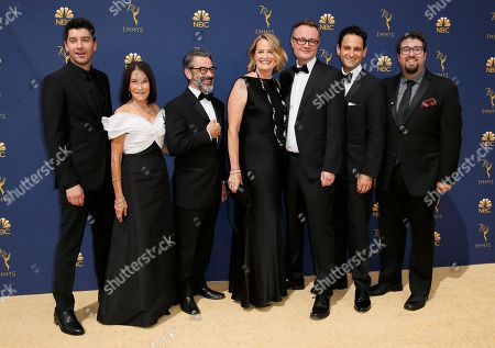 "Jakob Verbruggen, Rosalie Swedlin, Chris Symes, Marshall Persinger, Jamie Payne, Seth Fisher, Ben Rosenblatt. The team from ""The Alienist"""