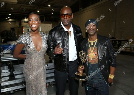Samira Wiley, Dave Chappelle, and Katt Williams. Samira Wiley, from left, Dave Chappelle, and Katt Williams pose backstage at the 70th Primetime Emmy Awards, at the Microsoft Theater in Los Angeles
