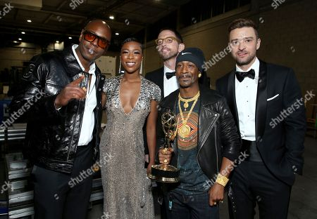 Dave Chappelle, Samira Wiley, Neal Brennan, Katt Williams, Justin Timberlake. Dave Chappelle, from left, Samira Wiley, Neal Brennan, Katt Williams, and Justin Timberlake appear backstage at the 70th Primetime Emmy Awards, at the Microsoft Theater in Los Angeles