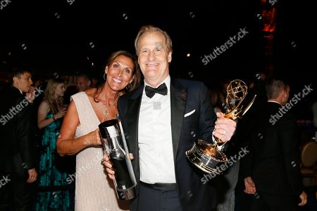 """Jeff Daniels, Kathleen Rosemary Treado. Kathleen Rosemary Treado, left, and Jeff Daniels, winner of the award for outstanding supporting actor in a limited series, movie or dramatic special for """"Godless"""", pose at the Governors Ball Winners Circle at the 70th Primetime Emmy Awards, at the Microsoft Theater in Los Angeles"""