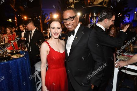 "Rachel Brosnahan, Hayma Washington. Rachel Brosnahan, winner of the award for outstanding lead actress in a comedy series for ""The Marvelous Mrs. Maisel,"" left, and Hayma Washington, Chairman and CEO of the Television Academy, attend the Governors Ball for the 70th Primetime Emmy Awards, at the Microsoft Theater in Los Angeles"
