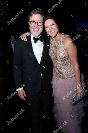 Stephen Colbert, Evelyn McGee-Colbert. Stephen Colbert, left, and Evelyn McGee-Colbert attend the Governors Ball for the 70th Primetime Emmy Awards, at the Microsoft Theater in Los Angeles