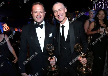 Stock Photo of Bradford Simpson, Joel Fields. Bradford Simpson, left, and Joel Fields attend the Governors Ball for the 70th Primetime Emmy Awards, at the Microsoft Theater in Los Angeles