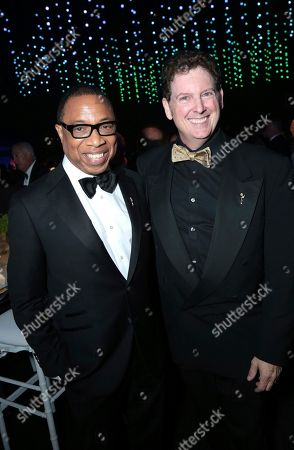 Hayma Washington, Chairman and CEO of the Television Academy, left, and guest attend the Governors Ball for the 70th Primetime Emmy Awards, at the Microsoft Theater in Los Angeles