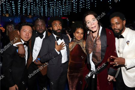 """Hiro Murai, Brian Tyree Henry, Donald Glover, Zazie Beetz, """"Teddy Perkins"""", Lakeith Stanfield. Hiro Murai, from left, Brian Tyree Henry, Donald Glover, Zazie Beetz, """"Teddy Perkins"""" and Lakeith Stanfield attend the Governors Ball for the 70th Primetime Emmy Awards, at the Microsoft Theater in Los Angeles"""