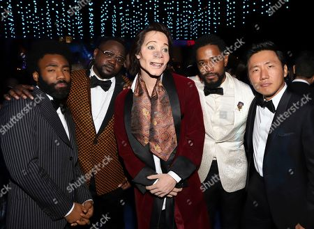 """Donald Glover, Brian Tyree Henry, """"Teddy Perkins"""", Lakeith Stanfield, Hiro Murai. Donald Glover, from left, Brian Tyree Henry, """"Teddy Perkins"""", Lakeith Stanfield and Hiro Murai attend the Governors Ball for the 70th Primetime Emmy Awards, at the Microsoft Theater in Los Angeles"""