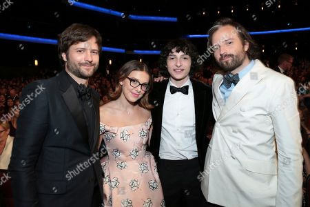 Ross Duffer, Milli Bobby Brown, Finn Wolfhard, Matt Duffer. Ross Duffer, from left, Milli Bobby Brown, Finn Wolfhard, and Matt Duffer at the 70th Primetime Emmy Awards, at the Microsoft Theater in Los Angeles